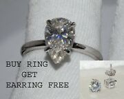 Buy One Ring And Get One Earring Free With All Moissanite In 14k White Gold Over