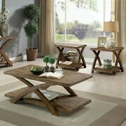 Rustic Light Oak 3 Piece Solid Wood Accent Coffee Side End Table Furniture Set