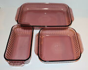 Pyrex Amethyst/cranberry 213-s 222-s And 233-s Ribbed Baking Ware - Retired