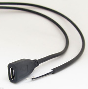 150pcs 30cm/1ft Micro 5pin Usb Female Jack 2 Wires Power Pigtail Cable Diy Black