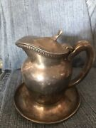Reed And Barton Silver Soldered Creamer Pitcher W/plate Hotel 1327 1/2