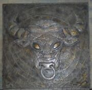 Hanging Wall Vintage 3d Sculpture Painting. Bull