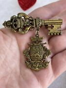 Coro Key Brooch Vintage Signed Coro Brass Key Shield Crest Pin Coat Of Arms