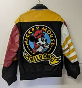Jeff Hamilton Mickey Mouse Wild One Canvas And Leather Jacket Size Xl Motorcycle
