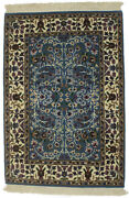 Teal Blue Thick Pile Hand-knotted New Kirman 2x3 Oriental Area Rug Carpet