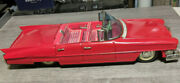 Vintage 12 Tin Friction Car Red Cadillac Convertable Toy Hot Rod Vehicle