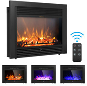 Costway 28.5 Fireplace Electric Embedded Insert Heater Glass Log Flame Remote