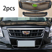 For Cadillac Xts 2018-20 Abs Carbon Fiber Front V-sports Grille Grill Trim 2pcs