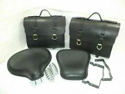 Royal Enfield Standard Pure Leather Saddle Bags And Front Rear Seat Black