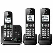Cordless Home Phone With Answering Machine System Telephone 3 Portable Handsets