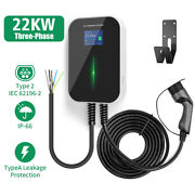 22kw Ev Charging Station 32a 3 Phase Type2 Wallbox Electric Car Charger Evse Iec