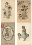 Dogs With Children Artist Signed Vienne Style 41 Vintage Postcards L3152