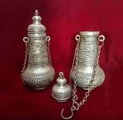 A Pair Of Antique Copper Vases Hand Made Full Detailed Of Pattern And Ornament