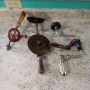 Antique Vintage Hand Drill Tool Lot 3 Pieces Stanley Unmarked Woodworking Tools