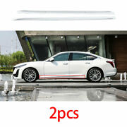 Exterior Door Panel Trim Side Skirts 2x Abs White Fit For Cadillac Ct5 2019-2020