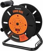 Dewenwils Heavy Duty Open Extension Cord Storage Reel With 4-grounded Outlets
