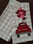 From The Heart Set Of 2 Kitchen Towels Be Mine Vintage Red Truck Balloons New