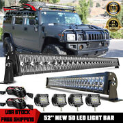 52 Led Light Bar+32and039and039 Lamp+4and039and039 Pods Combo For Hummer H1 H2 H3 Humvee Am General