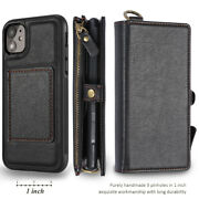 Wallet Phone Case Compatible With 6.7 Iphone 12 Pro Max Leather Zip Coin Purse
