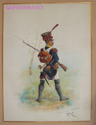 Large Drawing Watercolor Infantry Light - First Empire - Lucien Rousselot 3
