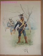 Large Drawing Watercolor Infantry Light - First Empire - Lucien Rousselot 2