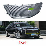 For Cadillac Ct6 2016 2017-2018 Abs Silver Type-v Front Grille Grill Cover Trim