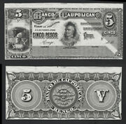 Chile Banknote Proof Catalog S 137 Front And Back Black