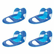 Swimways Spring Float Recliner Pool Lounge Chair W/ Sun Canopy, Blue 4 Pack