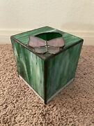 Vintage Stained Glass Tissue Box Cover 5 X 5 X 5.25