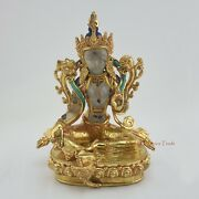 Hand Carved Gold Gilded Nepalese Green Tara Dholma Statue 9 From Patan Nepal