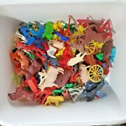 Vintage Cowboys, Indians, Farmers, Animals Plastic Mixed Lot Of 80 Plus As Is