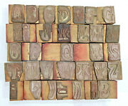 33 Letterpress Wooden/ Wood Hand-carved Matrices For Type English Wmt2