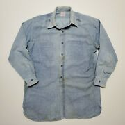 1940s Chambray Side Gusset Sanforized Union Made Vintage Usa Faded 50s Farm Old