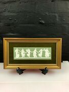 Wedgwood Jasperware Framed Green And White Dancing Hours Verso 1 Plaque 13 1978