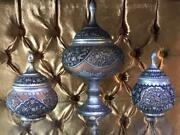 A Group Of 3 Unique Antique Persian Stamped Vases Decorated With Birds And Patt