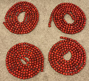 Wood Wooden Bead Bright Red Cranberry Christmas Tree Garland 4 Strands 9' Each