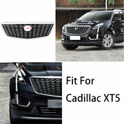 For Cadillac Xt5 2016-2019 2020 Silver Front Center Mesh Grille Grill Cover Trim