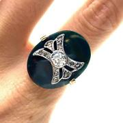 Antique Chalcedony And Old Mine Diamonds Ring In 18k Gold And Platinum