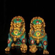 8.27 Collection Chinese Pure Copper Gilt Cloisonne Handmade Lion Statue A Pair
