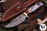Custom Hand Forged Damascus Steel Hunting Knife W/wood And Brass Guard Handle