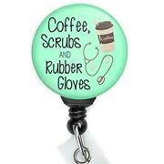 Coffee Scrubs And Rubber Gloves Retractable Badge Reel With Swing Clip