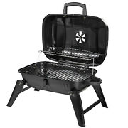 """Outsunny 14"""" Iron Porcelain Portable Folding Outdoor Tabletop Charcoal Barbecue"""