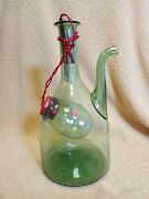 Vintage Glass Wine Bottle Decanter Ice Chamber Green Made In Italy