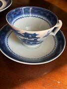 Set Of 11 Mottahedeh Blue Canton Footed Cups And Saucersandnbsp