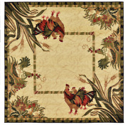 Farm Rooster Area Rugs Square Farmhouse Classic Style Decor Living Room Rugs