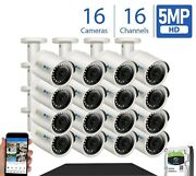 16 Channel 4k 8 Tb Nvr 12x5mp 1920p Poe Ip Camera Outdoor Onvif Security System