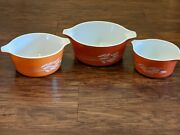 Pyrex Autumn Harvest Nesting Casserole Dishes 1980s Vintage Made In Usa