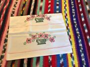 Unused 2 Pair's Vintage Southern Belle Embroidery Pillowcases-crochet Cotton New