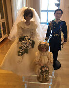 Princess Diana Charles And Flower Girl Doll Set Great Condition