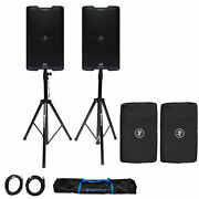 2 Mackie Srm212 V-class 12andrdquo 2000w Powered Bluetooth Pa Dj Speakers+stands+covers